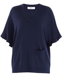 Paisie - Knitted V-neck Top With Frill Sleeves & Front Pocket In Navy - Lyst