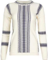 NY CHARISMA - Ivory Sweater With Textured Railroad Pattern - Lyst