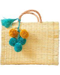 Soi 55 Lifestyle - Portuguese Basket Bag Natural With Raffia Pom-pom - Lyst