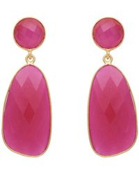 Carousel Jewels - Fuchsia Chalcedony Symmetrical Double Drop Earrings - Lyst
