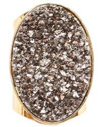 Tiana Jewel - Steffy Silver Metallic Druzy Ring - Lyst