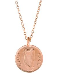 Chupi - Worth You Weight In Gold Farthing Coin Necklace Rose Gold - Lyst