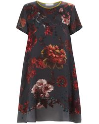 Klements | Frieda Dress In Gothic Floral Print Petrol | Lyst