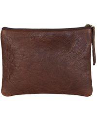 N'damus London - Brown Leather Flat Makeup Pouch - Lyst