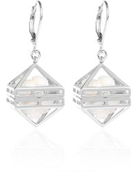 Sally Lane Jewellery - Beauty Within Silver Cage Earrings With White Drusy Crsytal - Lyst