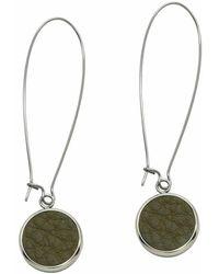 N'damus London - Silverdale Olive Leather & Steel Drop Earrings - Lyst