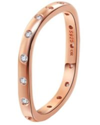 Opes Robur - Rose Gold Stacking Ring With Diamonds - Lyst