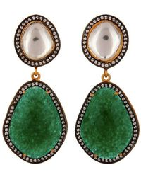Carousel Jewels - Crystal Quartz & Green Aventurine Drop Earrings - Lyst