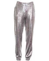 OKAYLA - Metallic Silver Jogger - Lyst