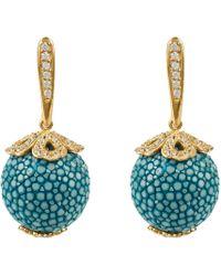 LÁTELITA London - Stingray Ball Drop Earring Gold Ocean Blue - Lyst