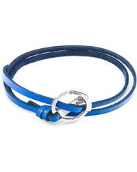Anchor & Crew - Royal Blue Ketch Anchor Silver & Flat Leather Bracelet - Lyst