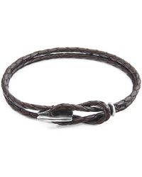 Anchor & Crew - Dark Brown Padstow Silver & Braided Leather Bracelet - Lyst