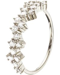 Lily & Roo - Silver Diamond Style Cluster Ring - Lyst