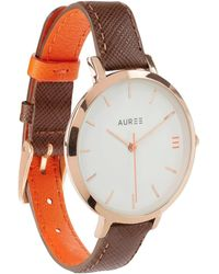 Auree - Montmartre Rose Gold Watch With Chestnut Brown & Orange Strap - Lyst