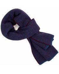 40 Colori - Burgundy Jeans Blue Reversible Herringbone Cashwool Scarf - Lyst