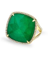 Anne Sisteron Yellow Gold Emerald Diamond Triplet Cushion Cut Luxe Cocktail Ring - Green