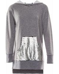 OKAYLA - Sequin Pocket Grey Hoodie - Lyst
