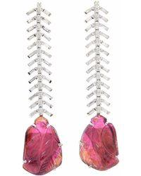 Ri Noor - Baguette Diamond & Carved Tourmaline Earrings - Lyst