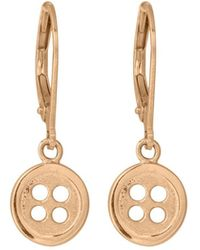 Edge Only | Button Drop Earrings In Gold | Lyst