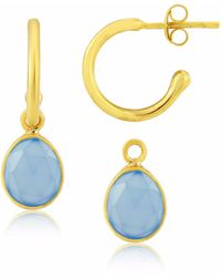 Auree - Manhattan Gold & Blue Chalcedony Interchangeable Gemstone Earrings - Lyst