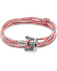 Anchor & Crew - Red Dash Union Silver & Rope Bracelet - Lyst