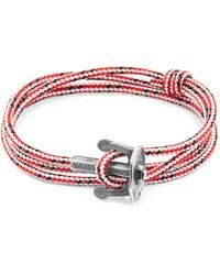 Anchor & Crew - Red Dash Union Anchor Silver & Rope Bracelet - Lyst