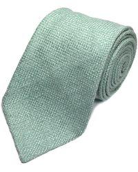 Louise & Zaid - Mint Green Slub Silk Tie - Lyst