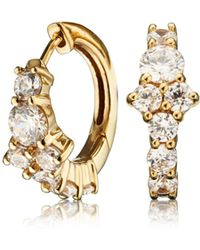 Lily & Roo - Small Gold Cluster Diamond Style Huggie Hoop Earrings - Lyst