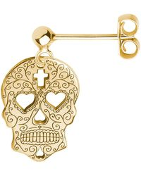 CarterGore - Gold Sugar Skull With Heart Eyes Single Short Drop Earring - Lyst
