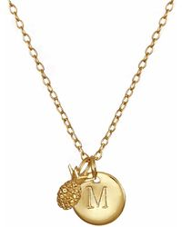 Lee Renee - Pineapple & Initial Necklace - Lyst