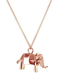 Origami Jewellery - Mini Elephant Necklace Rose Gold - Lyst