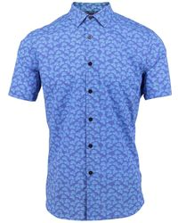 lords of harlech - Scott Shirt In Azure Leaves - Lyst