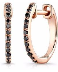 Anne Sisteron - Rose Gold Black Diamond Huggie Earrings - Lyst