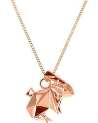 Origami Jewellery - Mini Rabbit Necklace Rose Gold - Lyst