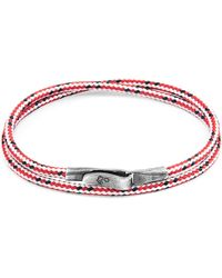 Anchor & Crew - Red Dash Liverpool Silver & Rope Bracelet - Lyst