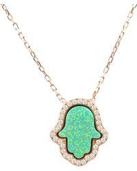 LÁTELITA London - Green Opalite Hamsa Necklace Rosegold - Lyst