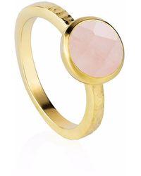 Neola - Estella Gold Stacking Ring With Rose Quartz - Lyst