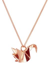 Origami Jewellery - Sterling Silver & Pink Gold Mini Swan Origami Necklace - Lyst