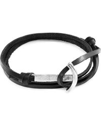 Anchor & Crew - Coal Black Clipper Anchor Silver & Flat Leather Bracelet - Lyst