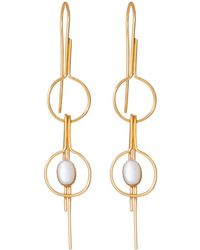 Dutch Basics - Gold Plated Double Pin Earrings - Lyst
