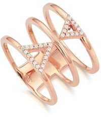 Kasané - Rose Double Frosted Triangle Ring - Lyst