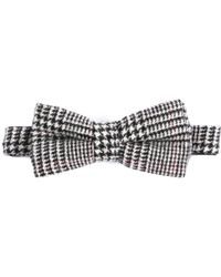 EZRA AMARFIO - Prince Of Wales Check Cashmere & Merino Wool Pre Tied Bow - Lyst