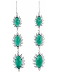 Meghna Jewels - Triple Drop Claw Earrings Green Chalcedony & Diamonds - Lyst