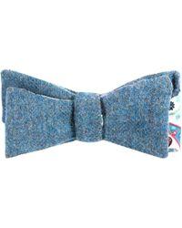 EZRA AMARFIO - Turquoise Tweed & Liberty Paisley Print Self Tie Bow - Lyst