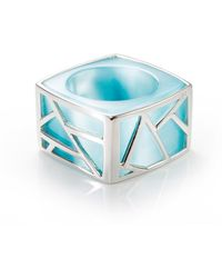 Ona Chan Jewelry | Square Cocktail Ring Blue | Lyst