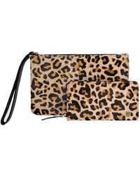 MAHI - Matching Clutch & Purse Gift Set In Leopard Print Pony Hair Leather - Lyst