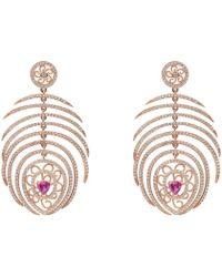 LÁTELITA London - Peacock Statement Feather Earring Rosegold - Lyst