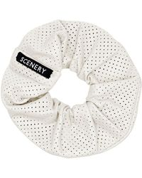 Scenery Label - White Leather Scrunchie - Lyst