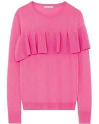 ILLE DE COCOS - Merino Ruffle Sweater Flamingo & Gold - Lyst