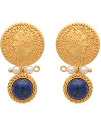 Carousel Jewels - Pearl & Lapis Earrings With Gold Coin - Lyst